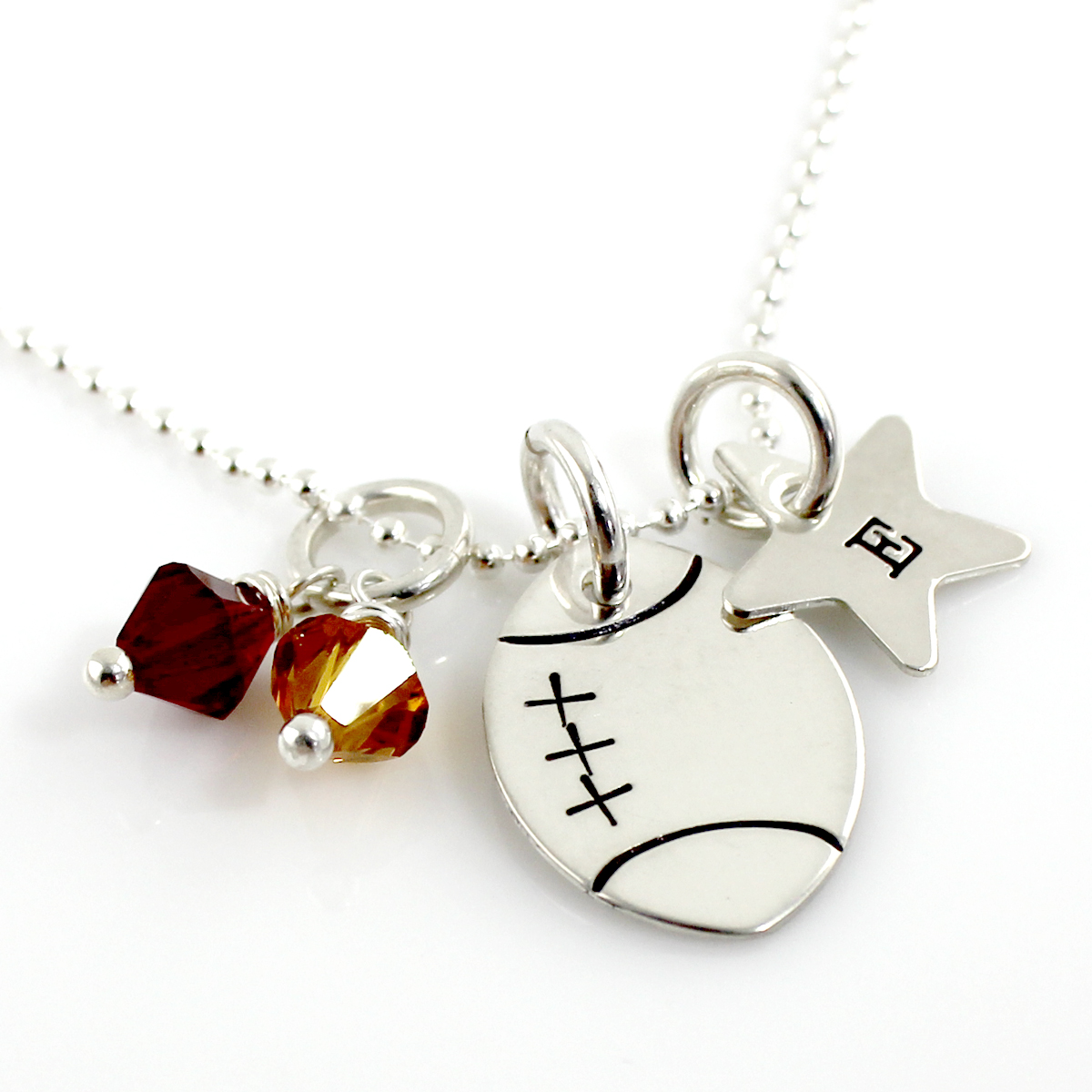 pendant gold white football sports necklace