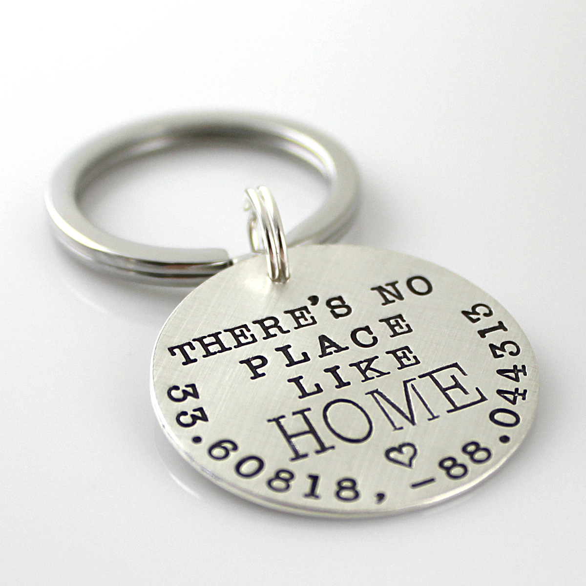 There's No Place Like Home personalized sterling key chain