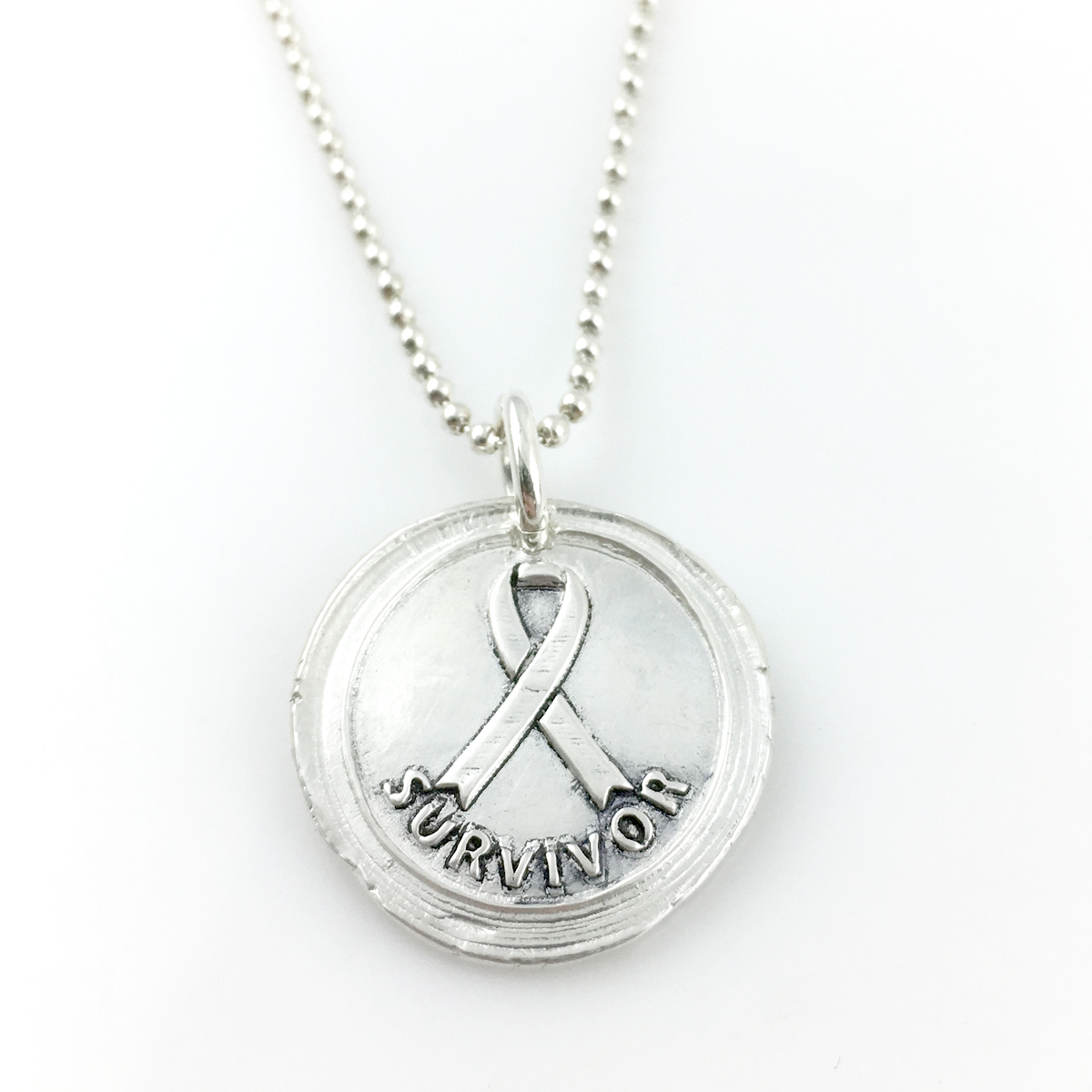 Survivor | Awareness Ribbon Wax Seal Necklace