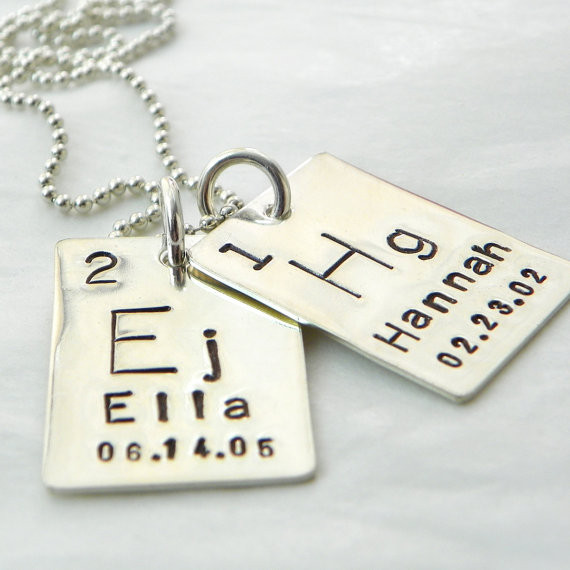 Atomic element necklace hand stamped atomic element hand stamped sterling silver necklace two tags periodic table urtaz Image collections