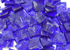 """1"""" x 1"""" Dark Blue Celtic Hand Cut, Stained Glass Mosaic Tiles (25 tiles)"""