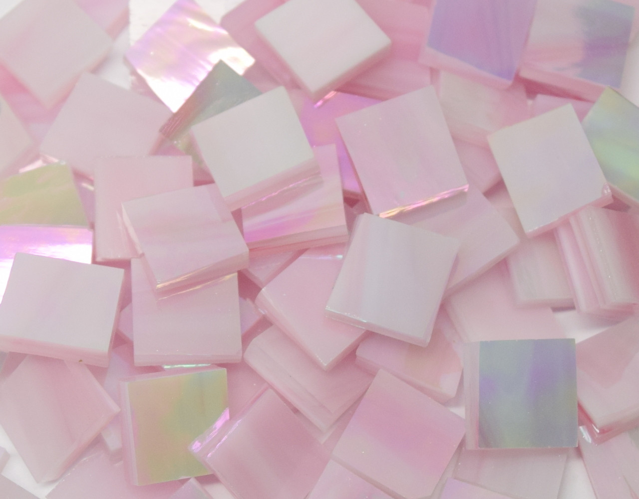 Pink & White Wispy Iridescent Stained Glass Mosaic Tiles