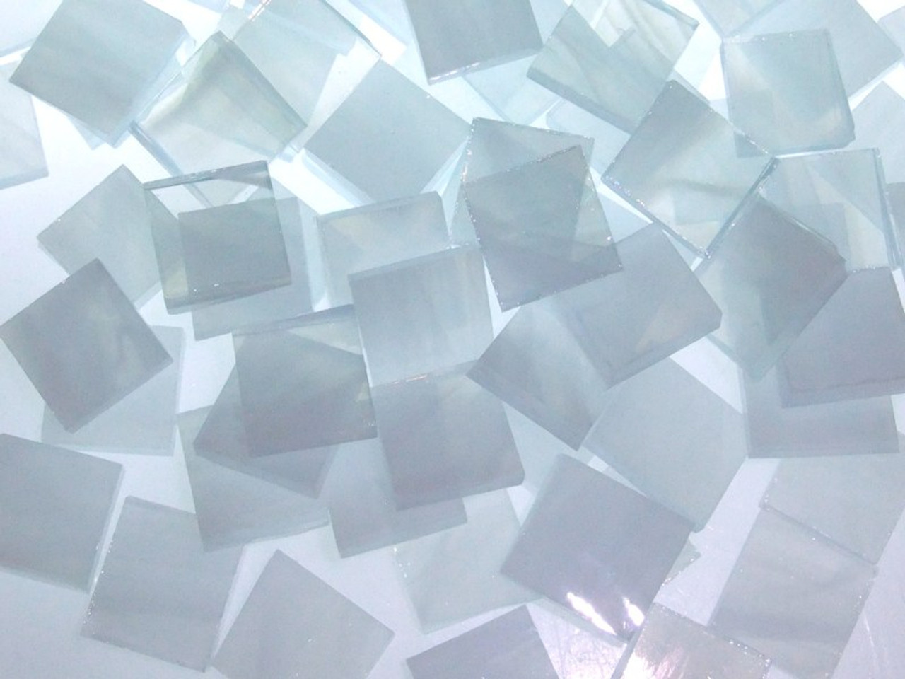 Bulk Discount - Clear & White Wispy Stained Glass Mosaic Tiles