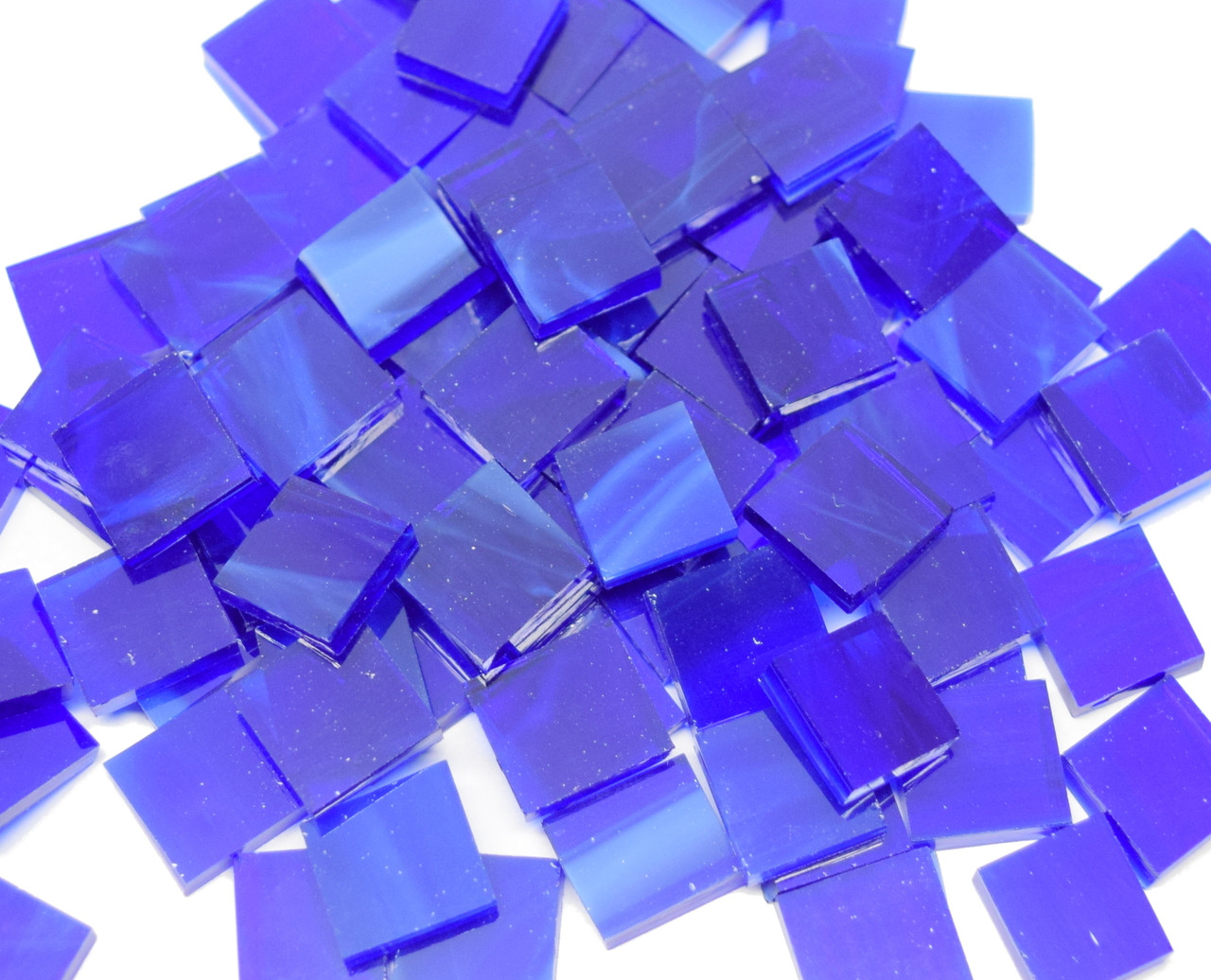 Dark Blue & White Stained Glass Mosaic Tiles