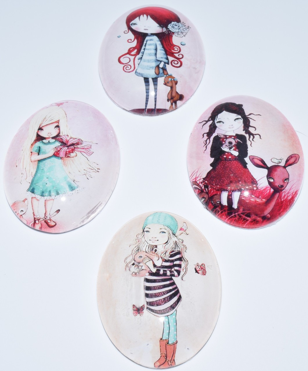 4 Mother Mary Glass Cabochons, 30x40mm Ovals