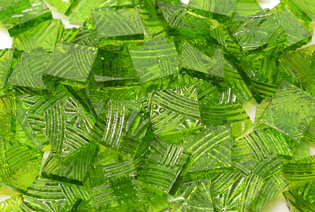 Bulk Discount - Chartreuse Green Cathedral Celtic Hand Cut, Stained Glass Mosaic Tiles
