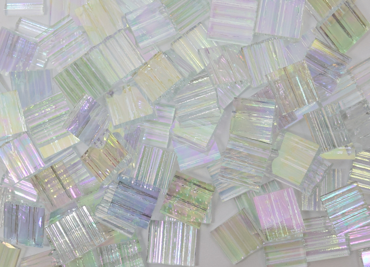 "1"" x 1"" Clear Ruffled Iridescent Stained Glass Mosaic Tiles (25 tiles)"