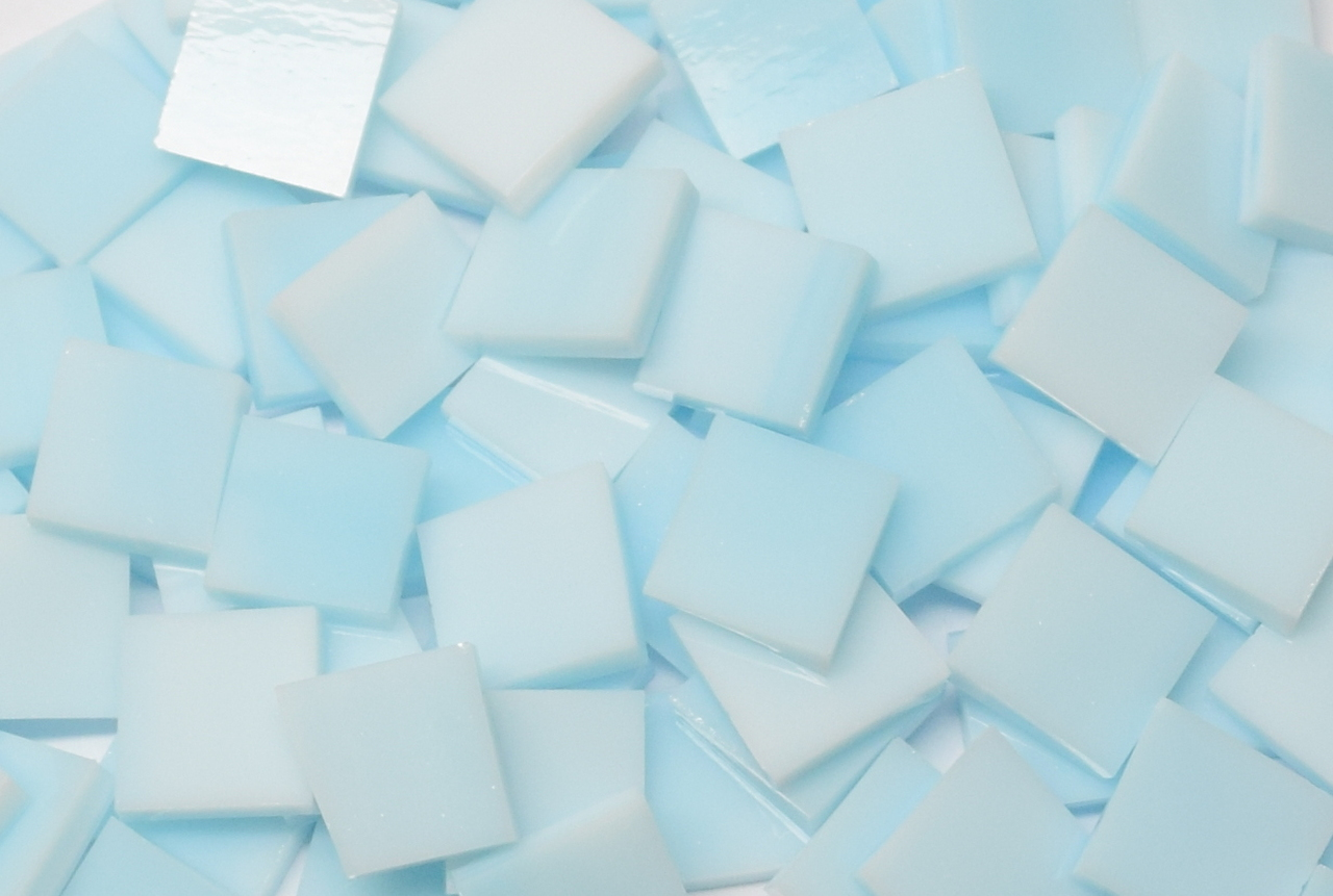 Sky Blue Pastel Stained Glass Mosaic Tiles