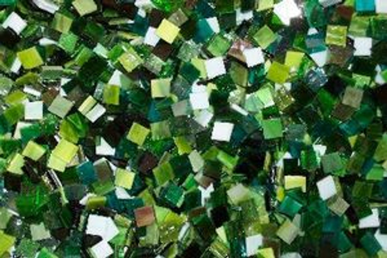 Green Mix Stained Glass Mosaic Tiles