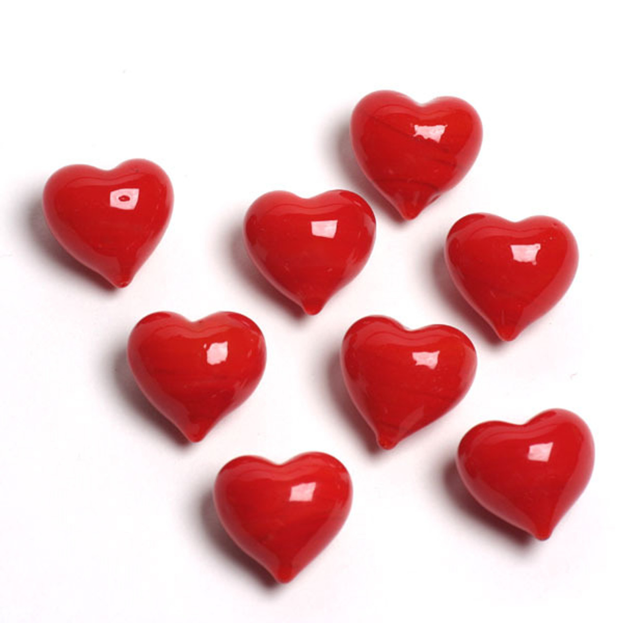 1 Round Glass Heart 34mm- ELECTRIC RED