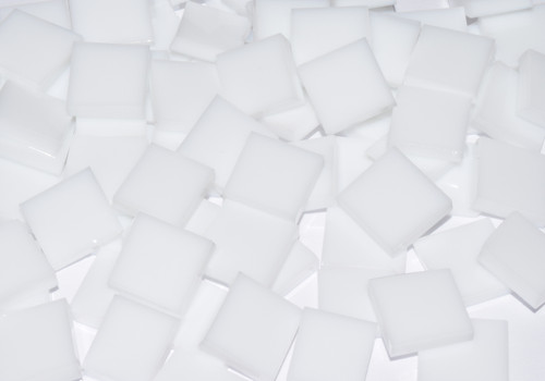 Bulk Discount - White Opal Stained Glass Mosaic Tiles