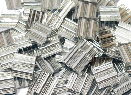 Bulk Discount - Ruffled Silver Mirror Hand Cut Glass Mosaic Tiles