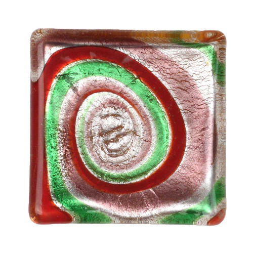 1 Pink, Silver, Red & Green Lampwork Cabochon, 30x30x6mm