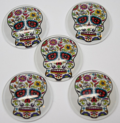 5 Mexican Sugar Skull / Flower Skull 25mm Round Glass Cabochons