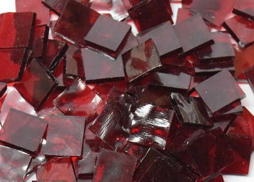 Manchester Red English Muffle Hand Cut, Stained Glass Mosaic Tiles