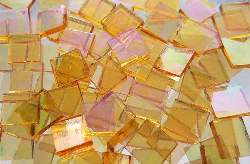 Iridescent Honey Yellow Stained Glass Mosaic Tiles