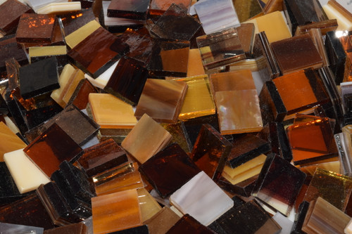 Amber / Autumn Mix Stained Glass Mosaic Tiles
