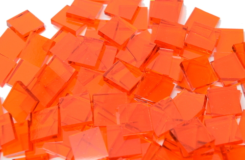 "3/4"" x 3/4"" Orange Translucent Stained Glass Mosaic Tiles (40 tiles)"