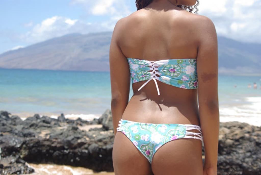 Breakwalls Reversible Style Lace Up-- Corset Bandeau Bikini Top Customize Size & Choose from 50+ Fabrics