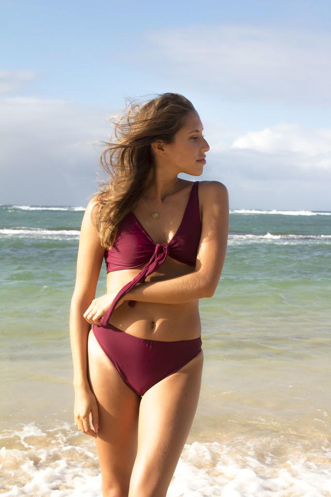 A Waimanalo Reversible High Hip Cut Bikini Bottoms Cheeky or Thong Option Peace of Paradise Creations