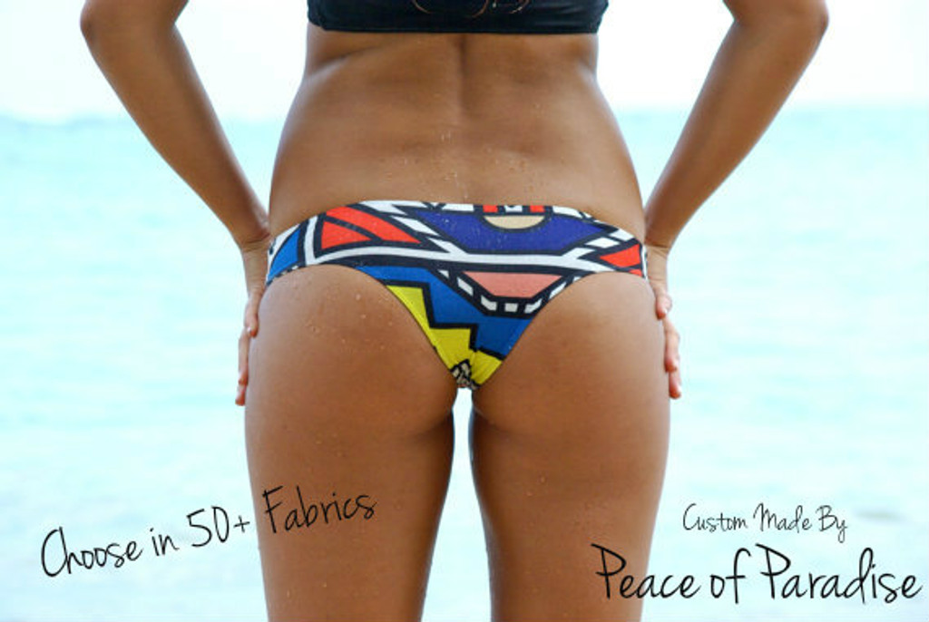 A Kaisers REVERSIBLE Brazilian Bikini Bottom  Customize Size & Choose from 50+ Fabrics