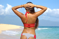 SUGAR BEACH: Reversible - Multi strap- Halter - Sporty/Sexy- Removable Bow