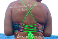 A PAHOA REVERSIBLE Halter Lace UP full support Plus Size BATHING suit Top  Customize Size & Choose from 50+ Fabrics2