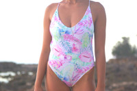 A Cali Reversible high cut One Piece  bathing suit Customize Size & Choose from 50+ Fabrics