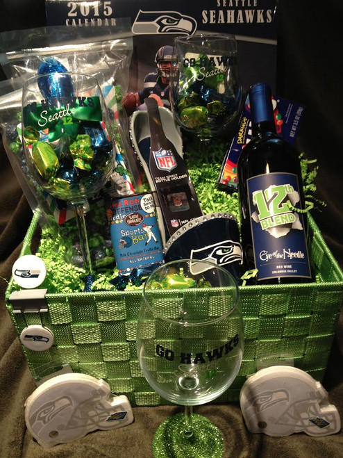 Seattle Seahawks Wine Basket