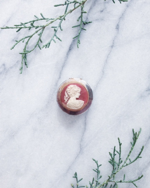vintage solid perfume compact - coral cameo box
