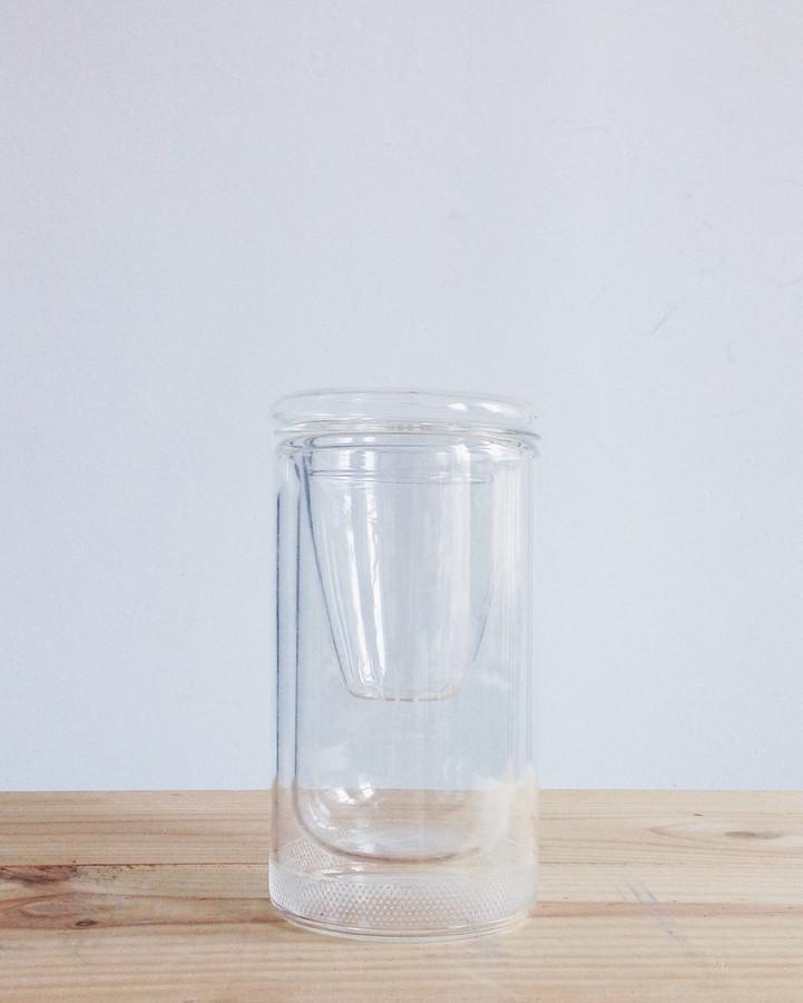 12oz double-wall glass tea tumbler