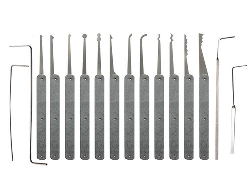 16 Piece Laminated Plain Handle Lock Pick Set
