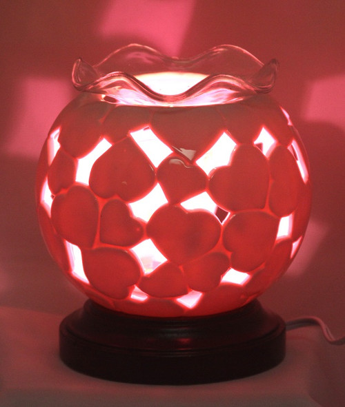 RED HEARTS POTTERY ELECTRIC OIL BURNER