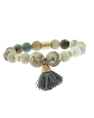 AMAZONITE & TASSEL STRETCH BRACELET - MINT