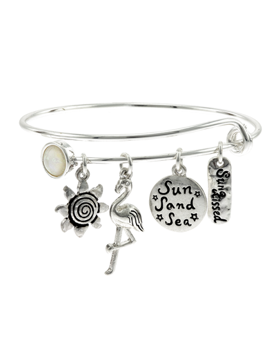 """SUN SAND SEA"" CHARM HOOK BANGLE BRACELET"