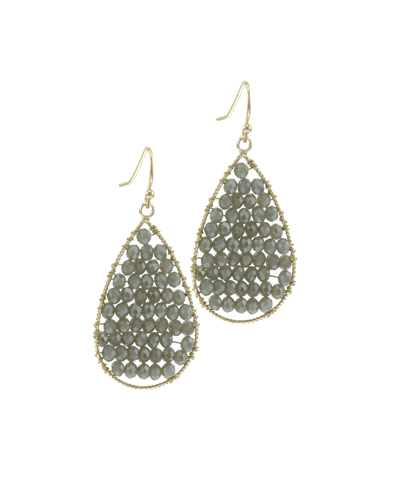 CRYSTAL BEADED TEARDROP EARRINGS - GREY