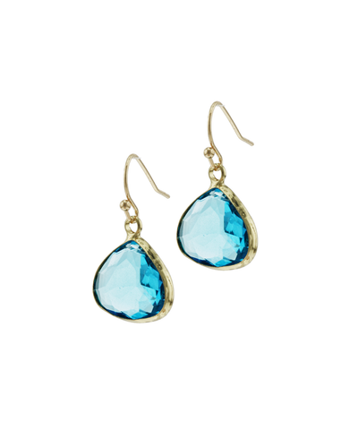 FRAMED GLASS TEARDROP EARRINGS - AQUA
