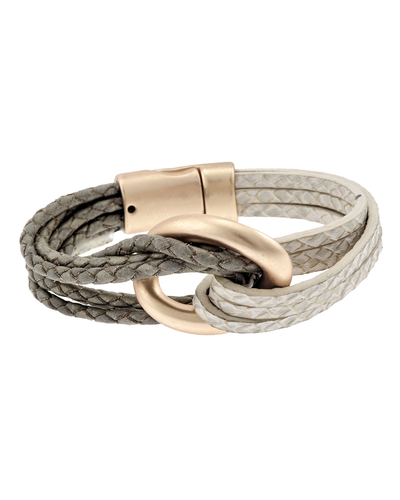 BRAIDED LEATHER LOOP MAGNETIC BRACELET - TAUPE