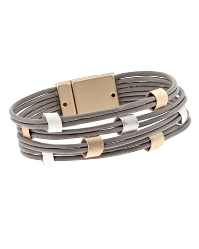 8 STRAND LEATHER & MULTI METAL MAGNETIC BRACELET - TAUPE