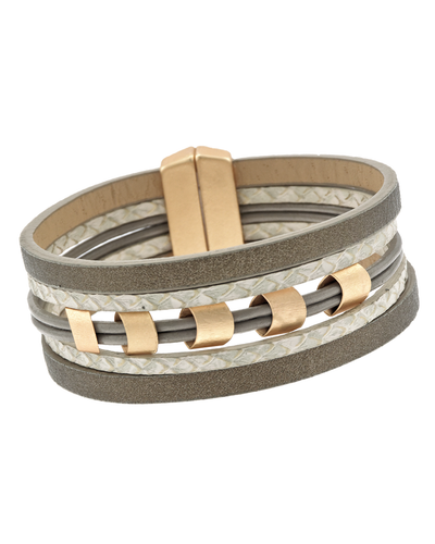 5 STRAND FAUX LEATHER & METAL MAGNETIC BRACELET - TAUPE