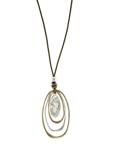 LAYERED OVAL METAL DROP- LEATHER NECKLACE