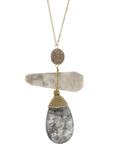 CHAIN WRAPPED-GREY LABRADORITE PENDANT NECKLACE - GREY