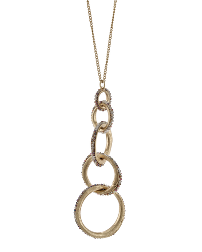 CRYSTAL BEADED LINKED CIRCLES- PENDANT NECKLACE - GREY