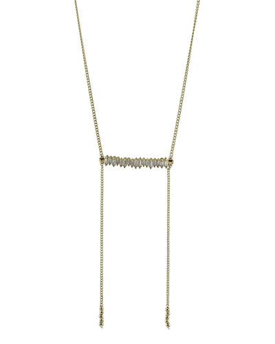 CUBIC ZIRCONIA BAR- CHAIN NECKLACE - GOLD