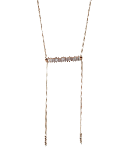 CUBIC ZIRCONIA BAR- CHAIN NECKLACE - ROSE GOLD