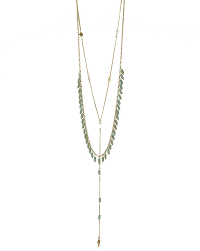 2 LAYER- CRYSTAL BEADS- DAINTY CHAIN NECKLACE - MINT