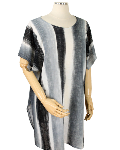 POLYESTER ABSTRACT STRIPED WEARABLE - BLACK