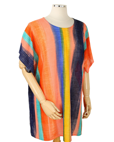 POLYESTER ABSTRACT STRIPED WEARABLE - CORAL