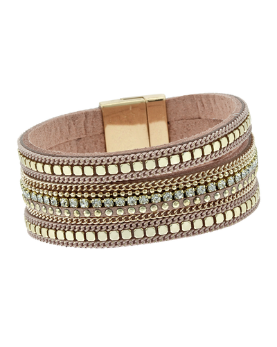 MAGNETIC FAUX LEATHER 3 STRAND BRACELET - GOLD