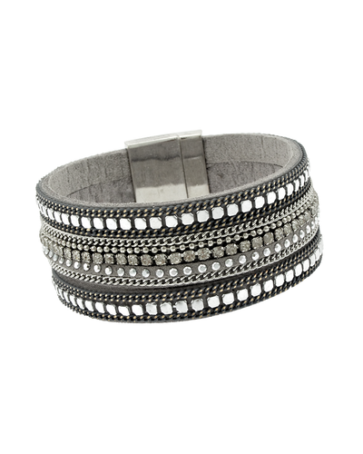 MAGNETIC FAUX LEATHER 3 STRAND BRACELET - SILVER
